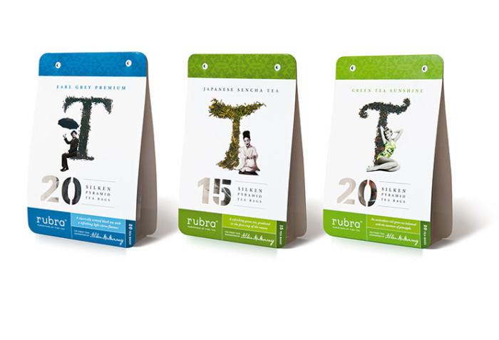 Rubra. Tea inspired packaging designs for Earl Grey Premium, Japanese Sencha Tea and Green Tea Sunshine. Design by Dessein, Australia.