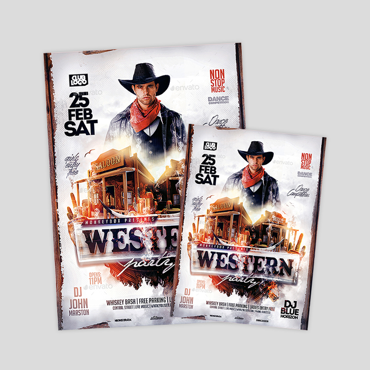 western-cowboy-themes-party-flyer-design