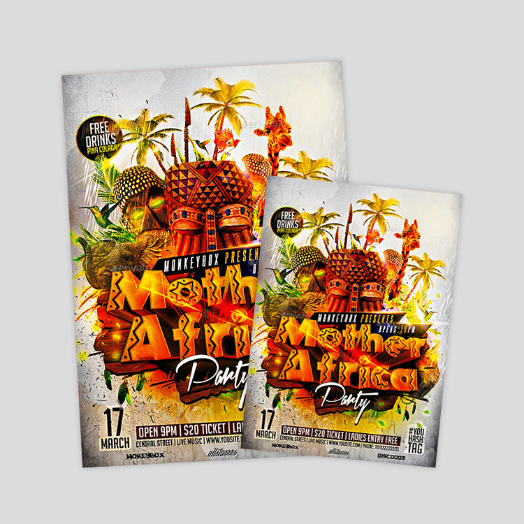 africa-themes-party-flyer-design