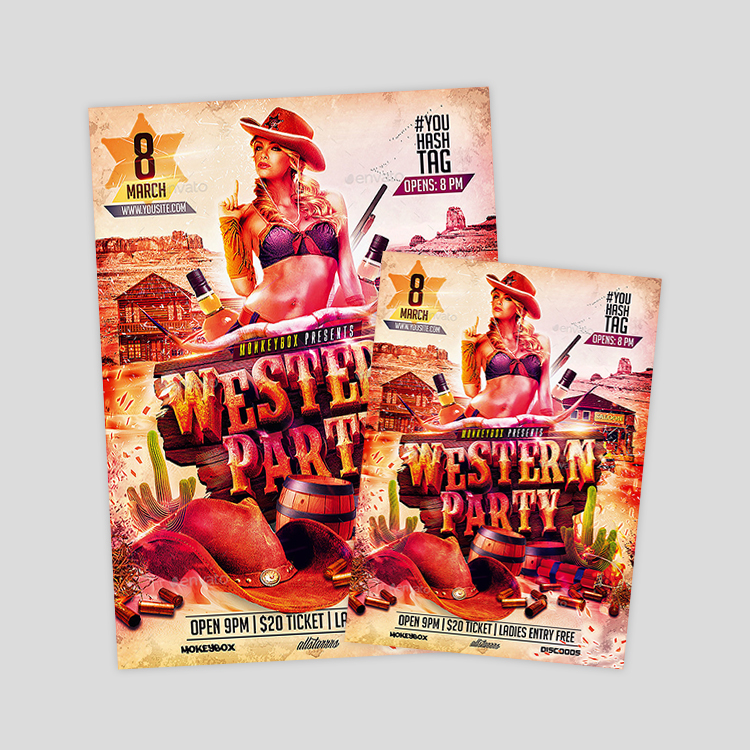 western-party-flyer-templates